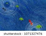 goldfish maple summer greeting... | Shutterstock .eps vector #1071327476