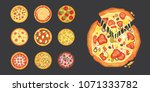 thinly sliced pepperoni is a... | Shutterstock . vector #1071333782