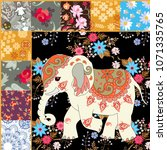 fragment of a quilt with an... | Shutterstock .eps vector #1071335765