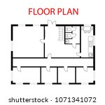 floor plan architectural vector ... | Shutterstock .eps vector #1071341072