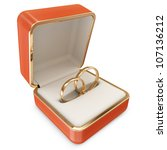 Golden Wedding Rings in a Box isolated on white background - stock photo