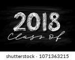 class of 2018. hand drawn brush ... | Shutterstock .eps vector #1071363215