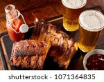 two spicy barbecued ribs... | Shutterstock . vector #1071364835