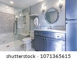 luxury bathroom design with... | Shutterstock . vector #1071365615