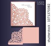 die laser cut wedding card... | Shutterstock .eps vector #1071370382