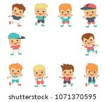 funny little boys | Shutterstock .eps vector #1071370595