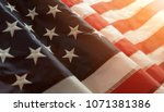 close up of american flag with... | Shutterstock . vector #1071381386