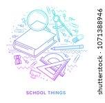 school items. modern flat... | Shutterstock .eps vector #1071388946