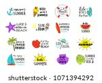funny summer icons   colourful... | Shutterstock .eps vector #1071394292