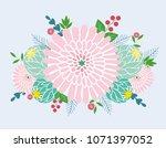 a bouquet of romantic flowers ... | Shutterstock .eps vector #1071397052