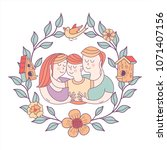 happy family. family day. ... | Shutterstock .eps vector #1071407156