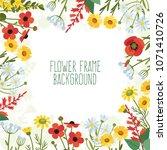 frame of wild flowers.... | Shutterstock .eps vector #1071410726