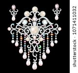 illustration jewelry brooch and ... | Shutterstock .eps vector #1071411032