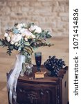 Small photo of wedding decor in an old manor, details