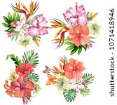 set of bouquets with tropical... | Shutterstock . vector #1071418946