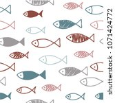 seamless pattern with fish.... | Shutterstock .eps vector #1071424772