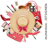 vector fashion concept with... | Shutterstock .eps vector #1071424856