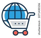 shopping flat and line icon   | Shutterstock .eps vector #1071430106