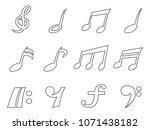isolated black music note... | Shutterstock .eps vector #1071438182