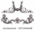 chrome ornament on a white... | Shutterstock . vector #1071446468