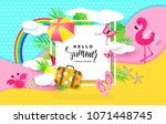 hello summer banner with sweet... | Shutterstock .eps vector #1071448745