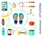 sports and healthy lifestyle... | Shutterstock .eps vector #1071450386