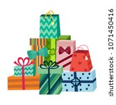 present box with bright... | Shutterstock .eps vector #1071450416
