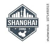 shanghai china travel stamp... | Shutterstock .eps vector #1071450515