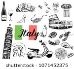 set of hand drawn sketch style... | Shutterstock .eps vector #1071452375