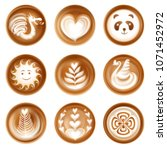 latte coffee art realistic set... | Shutterstock .eps vector #1071452972