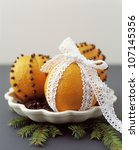 Close Up Of Oranges Pinned Wit...