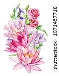 bouquet of flowers  lotus  blue ... | Shutterstock . vector #1071457718