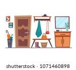 hallway interior with furniture....   Shutterstock .eps vector #1071460898