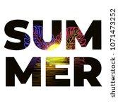 summer beach sunset neon poster.... | Shutterstock .eps vector #1071473252