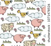 doodle seamless pattern with... | Shutterstock .eps vector #1071478526