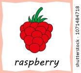 cartoon raspberry flashcard  ...   Shutterstock .eps vector #1071484718