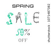 phrase spring sale 50  off.... | Shutterstock .eps vector #1071487382