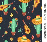 hand drawn mexican seamless... | Shutterstock .eps vector #1071487406