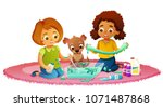 two cute girls and dog sitting... | Shutterstock .eps vector #1071487868