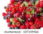 Heap different berries: cherries, raspberries, gooseberries, black currants, red currants, blackberries, strawberries - stock photo