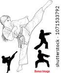 little girl karateka in kimono... | Shutterstock .eps vector #1071533792