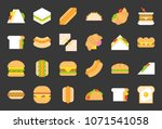 fast food flat icons  hot dog ... | Shutterstock .eps vector #1071541058
