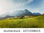 panoramic view of idyllic... | Shutterstock . vector #1071548015