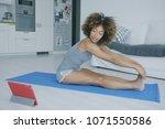 pretty ethnic model in gray...   Shutterstock . vector #1071550586