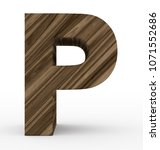 letter p 3d wooden isolated on... | Shutterstock . vector #1071552686