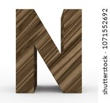 letter n 3d wooden isolated on... | Shutterstock . vector #1071552692