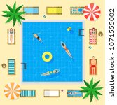 pool with blue water summer...   Shutterstock .eps vector #1071555002
