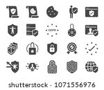gdpr privacy policy icon set.... | Shutterstock .eps vector #1071556976