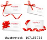 set of card note with red gift... | Shutterstock .eps vector #107155736