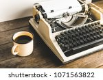 morning writer. an old printing ... | Shutterstock . vector #1071563822